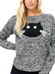 Gray Casual Printed Animal Crew Neck Shirts Tops