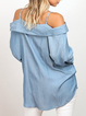 Blue Long Sleeve Off Shoulder Cotton-Blend Solid Shirts Tops