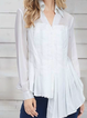 White Long Sleeve Asymmetric Shirt Collar Solid Shirts Tops