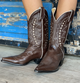 Plus Size Vintage Leather Chunky Heel Cowboy Boots