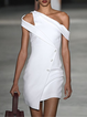 White Vintage Asymmetric Dresses