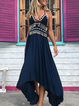 V Neck Deep Blue Women Dresses Shift Daily Casual Fringed Dresses