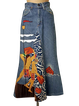 Floral-Print Abstract Denim Holiday Skirts