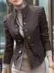 Gray Cotton-Blend Patchwork Casual Stand Collar Outerwear
