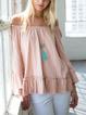 Pink Casual Ruffled Off Shoulder Shirts Tops