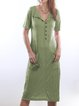 Women Pockets Buttoned Shift Casual Dresses