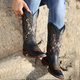 Black All Season Low Heel Floral Embroidered Boots