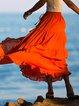 Orange Ruffled Cotton-Blend Plain Casual Skirts