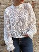 Plus Size Long Sleeve Lace Floral Casual Tops