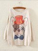 Beige Long Sleeve Printed Crew Neck Cotton Shirts & Tops