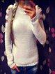 Long Sleeve Plain Casual Paneled Sweaters