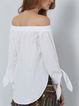 Solid Bow Off Shoulder Long Sleeve Shirts Tops