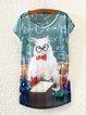 Short Sleeve Animal Basic Shirts & Tops