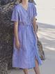 V Neck Blue Women Dresses Going Out Linen Plain Dresses