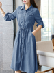 Shirt Collar Lightblue Women Dresses Outdoor Plain Dresses