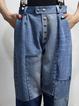 Blue Paneled Plain Basic Denim Pants