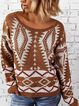 Brown Tribal Knitted Crew Neck Long Sleeve Shirts Tops