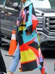 Multicolor Vintage Printed Long Sleeve Turn-Down Collar Outerwear