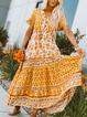 V Neck Yellow Women Dresses Shift Beach Tribal Dresses