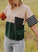 As Picture Pockets Crew Neck Casual Shirts Tops