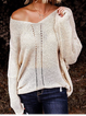 Apricot Long Sleeve V Neck Knitted Shirts Tops