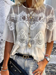 White Crew Neck Half Sleeve Shirts Tops