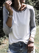 White Solid Casual Color-Block Shirts Tops