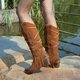 Casual Leather Block Heel Boots