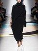 Turtleneck Women Shift Knitted Solid Dress