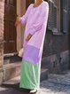 Round Neck Women Caftans Shift Daily Cotton Ombre Dresses