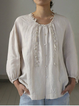 Beige Casual Crew Neck Linen Shirred Shirts & Blouses