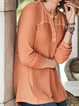Orange Long Sleeve Crew Neck Paneled Shirts & Tops