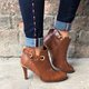 Women Plus Size Leather High Heel Ankle Booties
