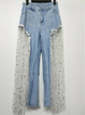 Blue Paneled Geometric Casual Tulle Pants