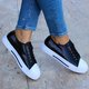 Plus Size Athletic Sequins Leather Lace Up Flat Sneakers