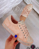 Plus Size Glitter Leather Lace Up Athletic Sneakers