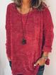 Red Plain Acrylic Crew Neck Long Sleeve Sweaters