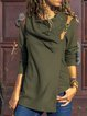 Green Long Sleeve Cotton-Blend T-Shirts