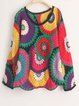 Multicolor Knitted Tribal Crew Neck Long Sleeve Top