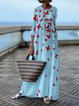 Spring/Fall Butterfly Round Neck Printed Maxi Dresses