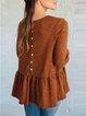 Gold Brown Paneled Cotton-Blend Half Sleeve Crew Neck T-Shirts