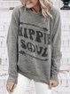 Plus Size Letter Printed Long Sleeves Casual T-Shirts