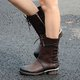 Plus Size Vintage Leather Zipper Chunky Heel Ankle Booties
