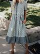 V Neck Blue Women Dresses Shift Cotton-Blend Dresses