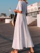 V Neck White Women Dresses Beach Cotton-Blend Dresses