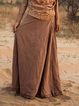 Brown Solid Boho Shift Skirts