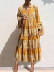 V Neck Yellow Women Dresses Daily Casual Tribal Dresses