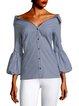 Black-White 3/4 Sleeve Cotton-Blend Shirts & Tops