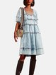 Square Neck Blue Women Dresses A-Line Going Out Paneled Dresses