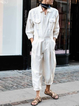 White Cotton-Blend Paneled Outdoor Long Sleeve One-Pieces